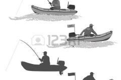 54794714-Руководитель-клуба-рыбаков-едет-на-резиновой-лодке-с-мотором.-Рыбак-в-лодке-ловит-рыбу-набор-силуэто